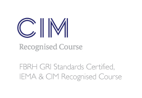 CIM recognised logo FBRH GRI standards certified IEMA course