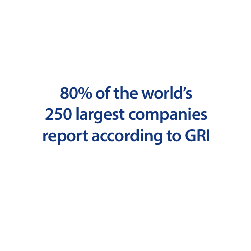 80% of the world's  250 largest companies  report according to GRI
